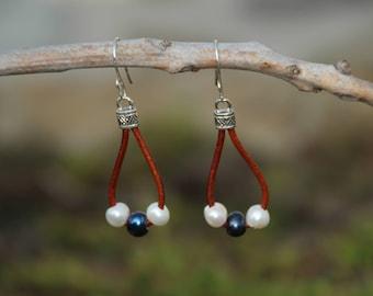 Leather N Pearl Earrings, Brown Leather Earrings, Leather Earrings, Fresh Water Pearl Earrings
