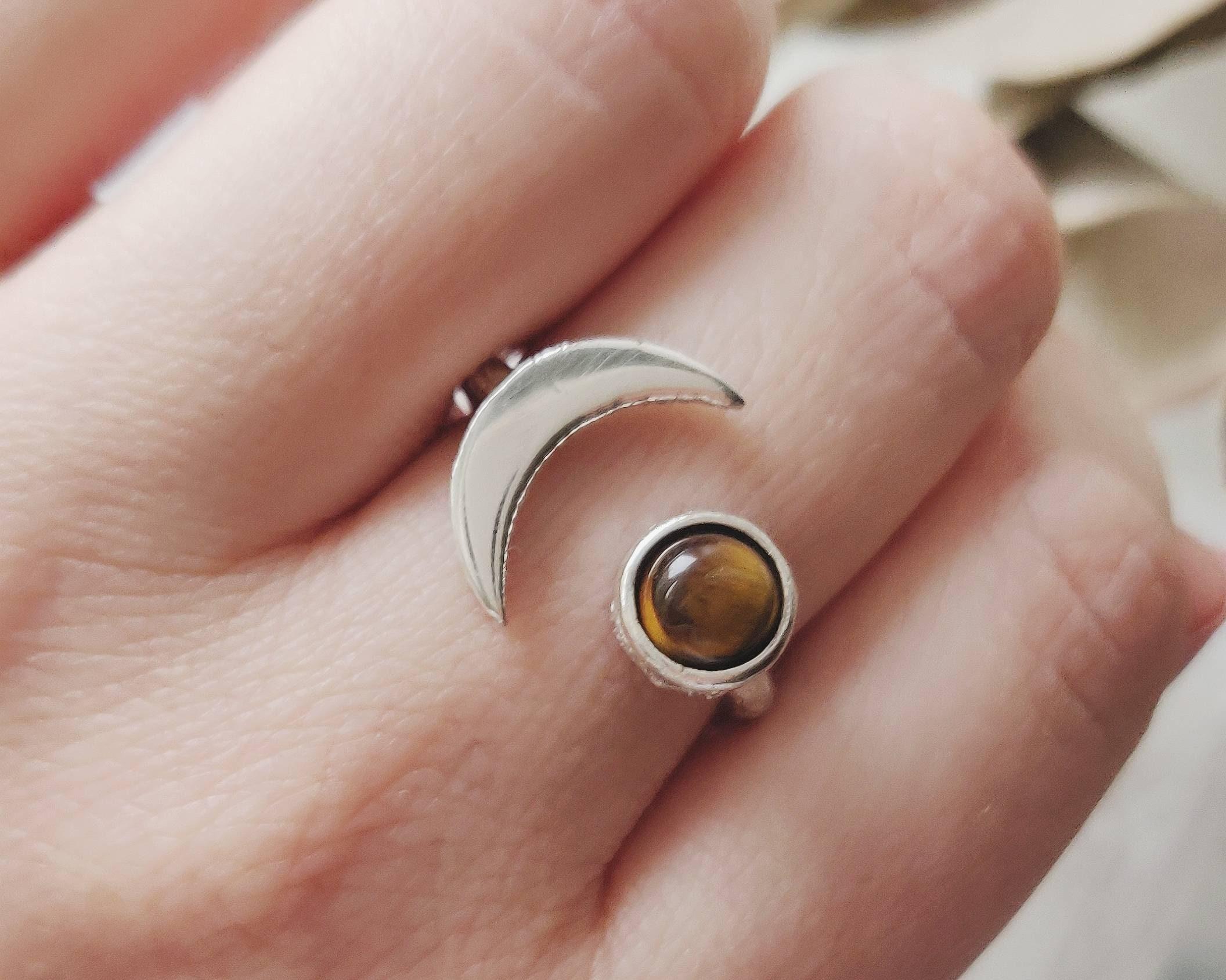925 Sterling Silver Natural Tiger Eye Ring Silver Tiger Eye Ring Gift For Mom Gift For Her Crescent Moon Ring