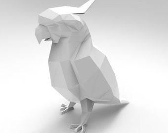 Little White Parrot A3 (Papercraft, Lowpoly,Animal Trophy, Paper Folding,  Parrot, Parrot PDF, 3D Paper Sculpture)