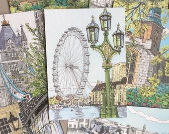 London Postcard Set | Travel Postcard | Illustrated Landmarks | Stationary Cards | UK Artist | Set of 7 | A6