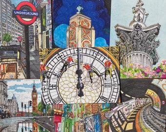 London Postcard Set | Travel Postcard | Illustrated Landmarks  | Stationary Card | UK Artist | Set of 7 | A6