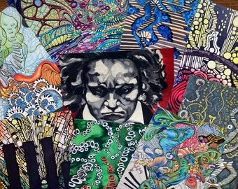 Music as a painting | Postcard Set | Art Postcards | Original Paintings | Unique Imagery | UK Artist | Set of 10 | A6