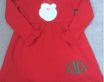 5e34c749c Santa Dress with Monogram, Christmas Dress, Holiday Dress