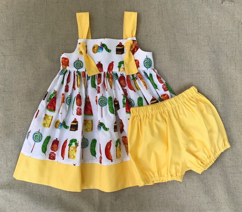 73c119176814 The Very Hungry Caterpillar Knot Dress and bloomers | Etsy