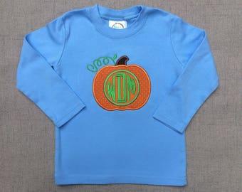 Boys Pumpkin Shirt, Monogram Pumpkin Shirt, Boys Fall Shirt
