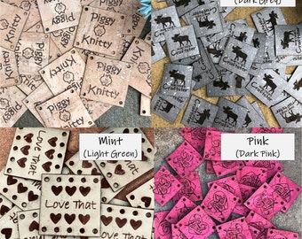 CORK Tags Washable, Personalize ur Square or Round Tags, ID Labels, Sew on, Knitting, Crochet, Garment label, Vegan, Rivets, Chicago screws