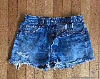 2b4d5683a71 1970 s Size 29 Button Fly Levi s 501 Denim Cut Off Shorts
