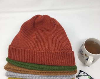 1823ba0fa68 Knitted lambswool Beanie hat. Unisex Beanie hat . Gift for her . Pure wool  Beanie hat . Yellow Beanie hat . Rust Beanie hat .