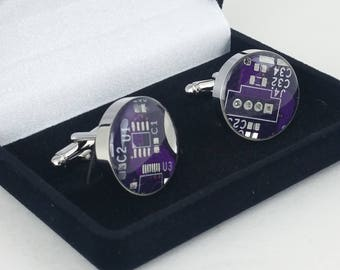 Purple and Silver Circuit Board Cufflinks - Big and Bold Cufflinks Handmade w/ Recycled Technology - Silver Plated - Choose Round or Square
