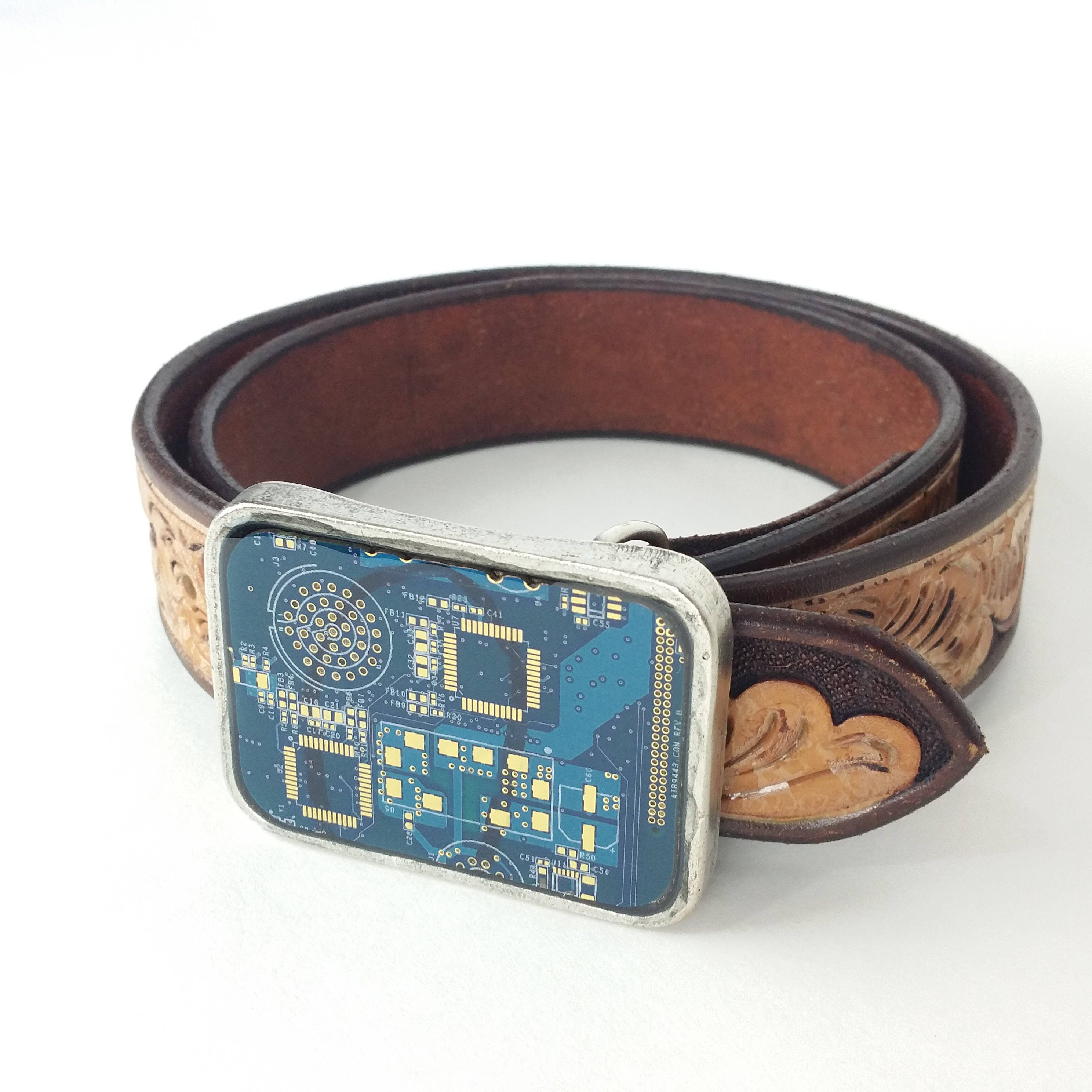 Two Tone Blue And Gold Circuit Board Belt Buckle Etsy In Boards