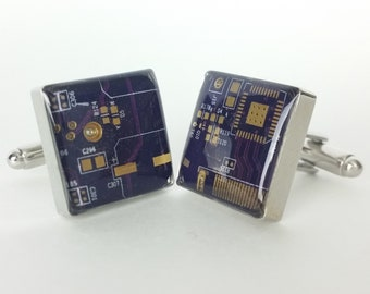 Purple and Gold Circuit Board Cufflinks - Handmade Cufflinks  w/ Recycled Technology - Silver Plated - Choose Round or Square