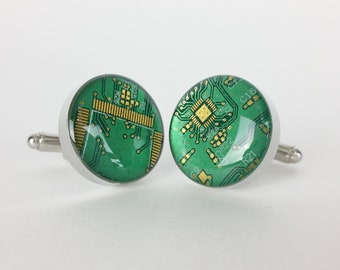 Iridescent Green and Gold Circuit Board Cufflinks - Handmade Cufflinks  w/ Recycled Technology - Silver Plated - Choose Round or Square