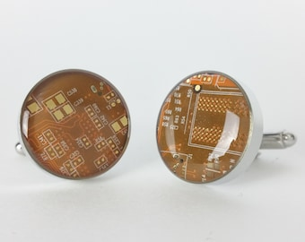 Orange and Gold Circuit Board Cufflinks - Handmade Cufflinks  w/ Recycled Technology - Silver Plated - Choose Round or Square