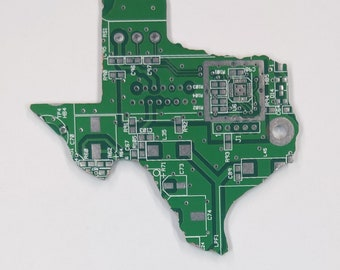 Texas State | Cut Out of Recycled Circuit Board | Choose Option: Magnet, Pin or Ornament