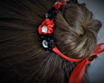 Black and Red Bun Wrap, Flower Bun Wreath, Ballet Bunflower, Bun Garland for Dance, Satin Bun Wrap