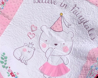 Girl quilt flower bear in tutu with frog