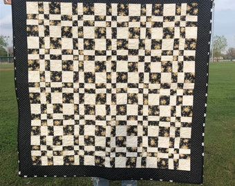 Black Floral Modern Baby Quilt Handmade