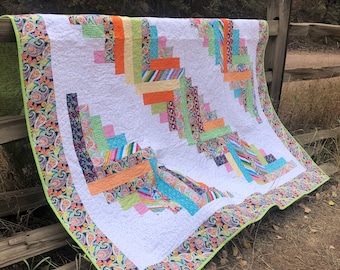 Bright Multicolor Log Cabin quilt