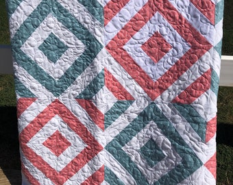 Pink and Green Diamond Geometric Quilt Handmade