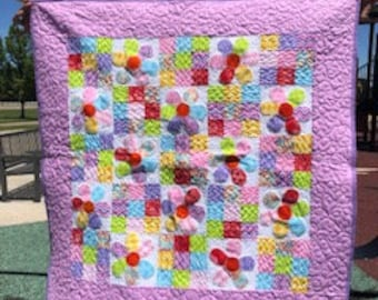 Bright multi-color flower nine patch baby girl quilt