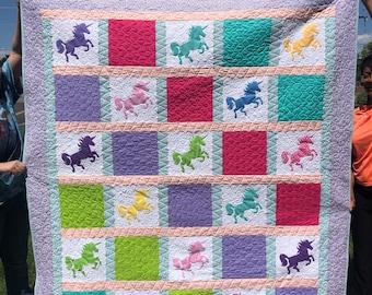 Unicorn Bright Multicolor Girl Handmade Applique Quilt
