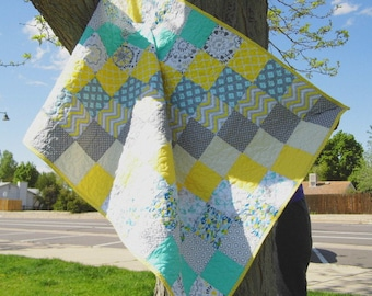 Teal yellow gray patchwork baby quilt blanket