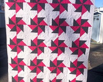 Hot Pink and Black Pinwheel Quilt Handmade