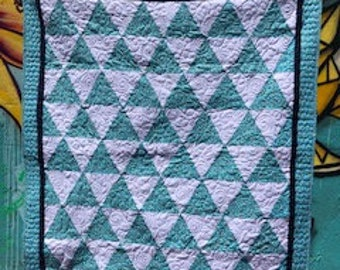 Triangle white multi-color polka dot handmade baby quilt