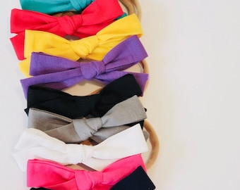 SOLID COLORS- Bow Headbands