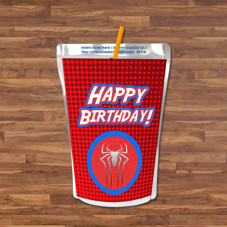 Spiderman Capri Sun Label - Spiderman Capri Sun Juice Pouch Label - Red & Blue Logo - Spiderman Birthday - Spiderman Party Printables 100662