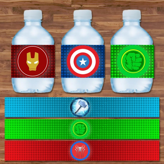 The Avengers Drink Labels- Avengers Water Bottle Label - Logos - Avengers Stickers - Superhero Avengers Party - Avengers Drink Wraps