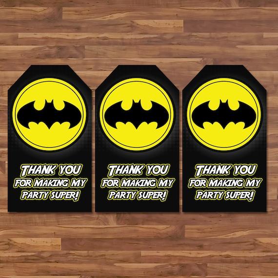 Batman Party Favor Tags - Batman Gift Tags Superhero Party Tags Black Yellow Justice League Logo - Batman Birthday Party Printables - 100653