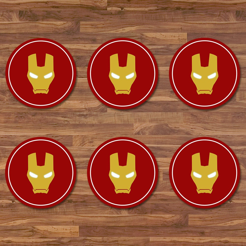 Iron Man Cupcake Toppers Stickers Red Gold Logo Etsy Ironman Tees Birthday 2 Inch Round Superhero Party