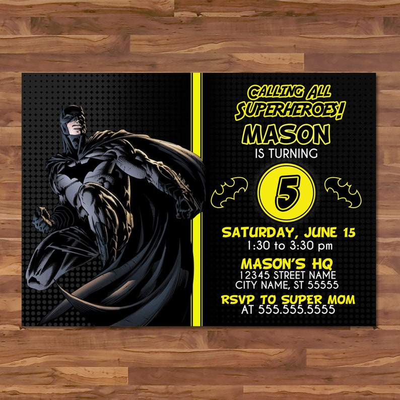 Batman Invite - Black Yellow - Batman Invitation - Batman Birthday Party - Justice League Party - Batman Superhero Party Favors - 100653