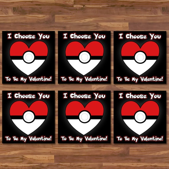 Pokemon Valentine's Day Cards Red Pokeball - Pokemon School Valentines - Pokemon Party Printables - Pokemon Valentine's Day Cards - 100928