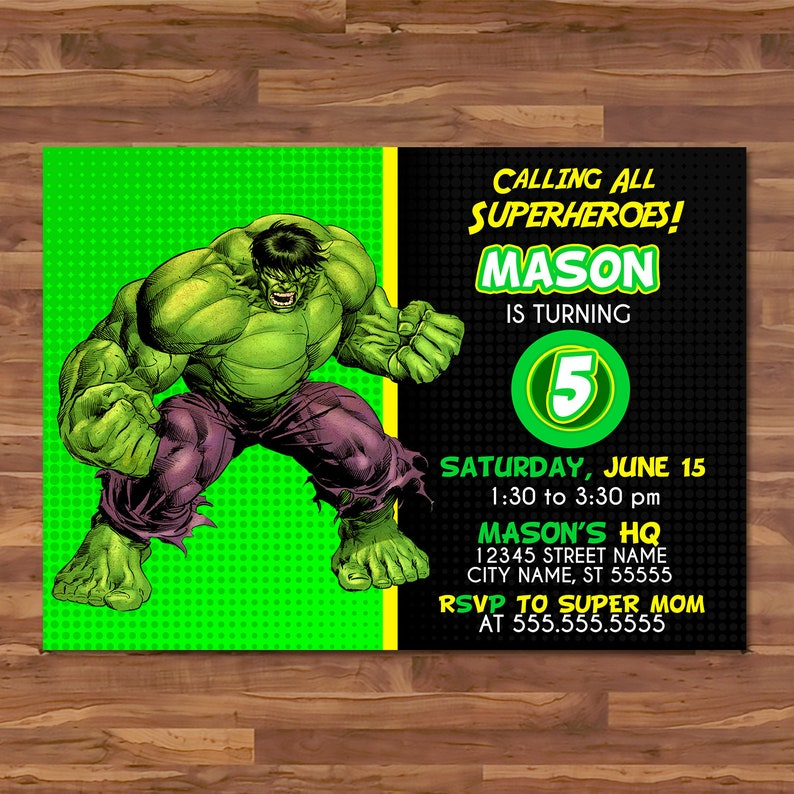 The Hulk Invite - Green Yellow - The Hulk Invitation - The Hulk Birthday Party - Avengers Party - Hulk Superhero Party Favors 100661
