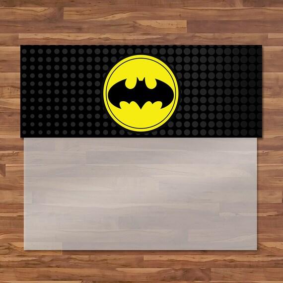 Batman Treat Bag Topper - Batman Candy Bag Ziptop Topper - Black Yellow Justice League Logo - Batman Birthday Party Printables - 100653