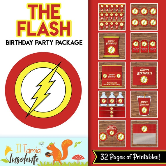 The Flash Birthday Party Package - Flash Birthday Party Decor Justice League Logo - Flash Birthday Party Printables - Superhero Party 100656 - The Flash Red and Yellow