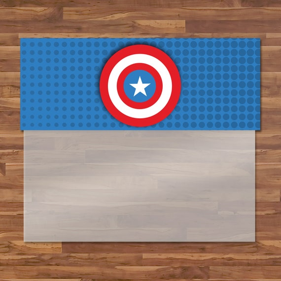 Captain America Birthday Party Treat Bag Topper - Captain America Candy Bag Topper - Avengers Logo - Captain America Birthday Party - 100660