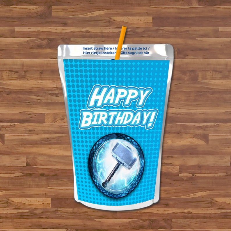Thor Capri Sun Label - Thor Capri Sun Juice Pouch Label - Avengers Logo - Thor Birthday Party - Thor Avengers Party Printables - 100664