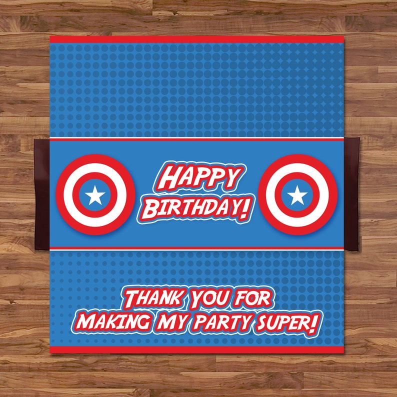Captain America Candy Wrapper - Captain America Chocolate Bar Wrapper - Avengers Logo - Captain America Birthday Party - 100660