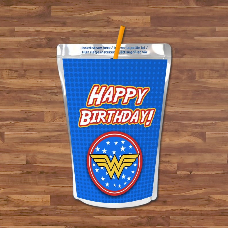 Wonder Woman Capri Sun Label - Wonder Woman Capri Sun Juice Pouch Label - Blue & Red Logo - Wonder Woman Birthday Party Printables - 100657