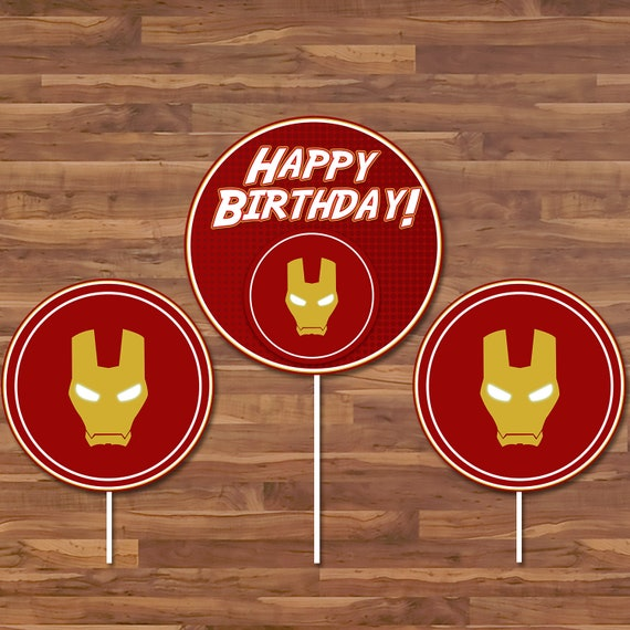 Iron Man Birthday Centerpiece - Ironman Stickers - Avenger Logo - Iron Man Birthday Party Printables - Iron Man Superhero Party - 100659
