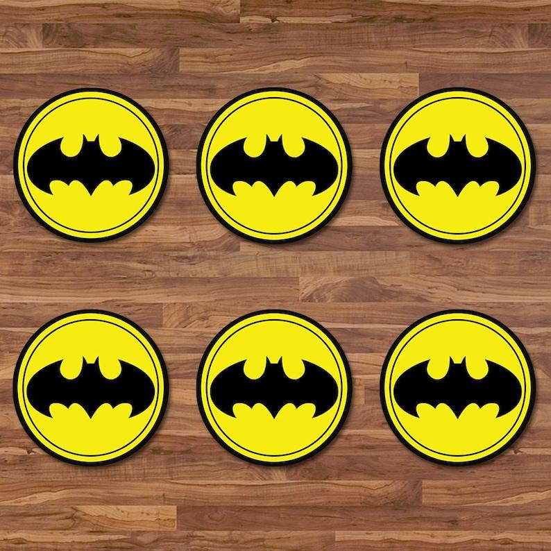 image relating to Batman Cupcake Toppers Printable called Batman Cupcake Toppers - Batman Stickers - Black Yellow Symbol - Batman Birthday - Batman Printables - Batman 2 inch Spherical Stickers 100653