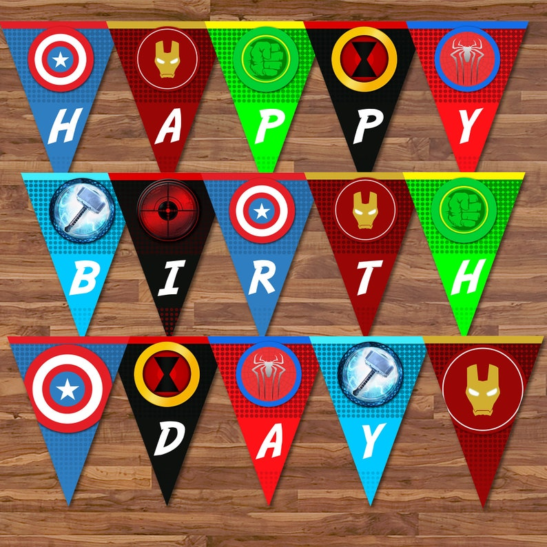 The Avengers Happy Birthday Banner - Avengers Banner - Superhero Banner Bunting - Avengers Birthday Party Printables - 100666