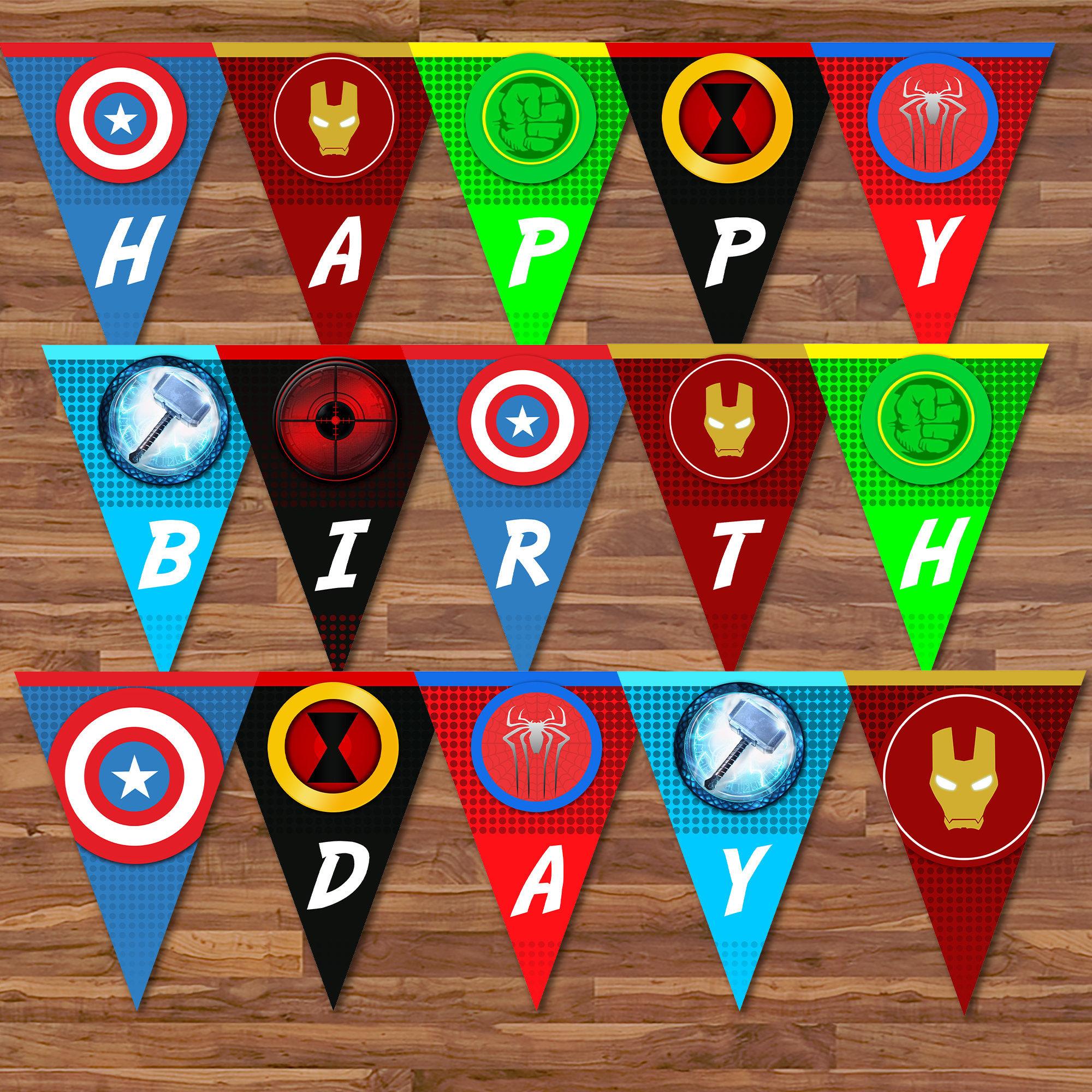 The Avengers Happy Birthday Banner Avengers Banner Etsy