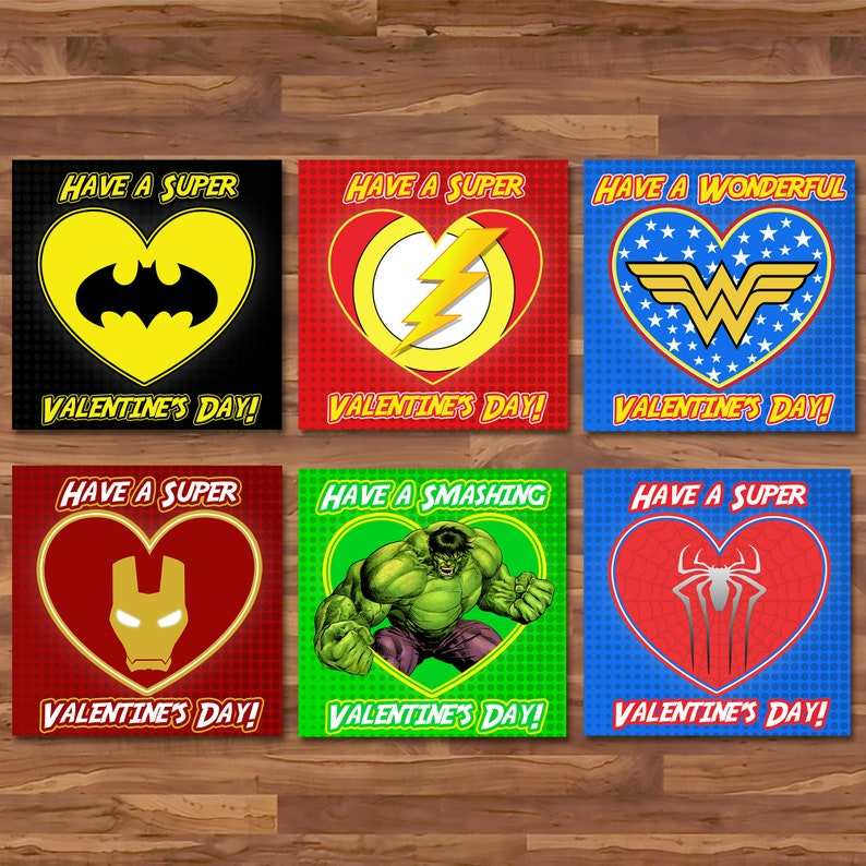 Superhero Valentine's Day Cards - Superhero School Valentines - Superhero Party Printables Avengers Superhero Valentine's Day Cards - 100773