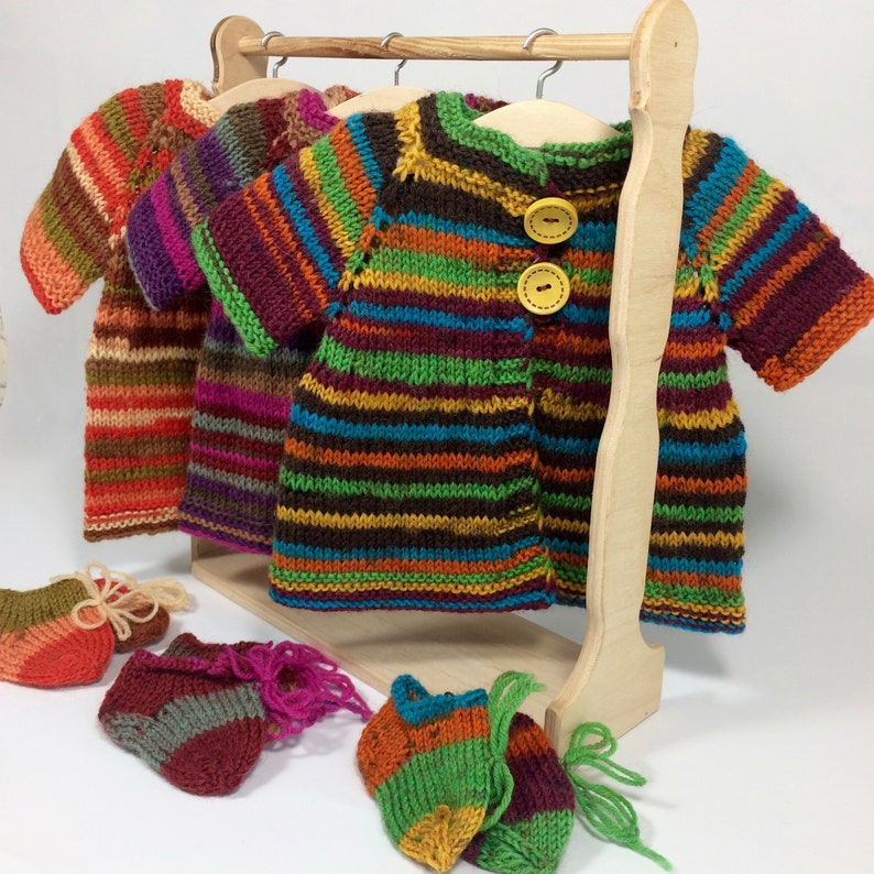 15 Waldorf doll clothes 14 17 18 inch dolls  3 pieces clothing set  Doll knit sweater  Hand knit coat in rainbow color 16