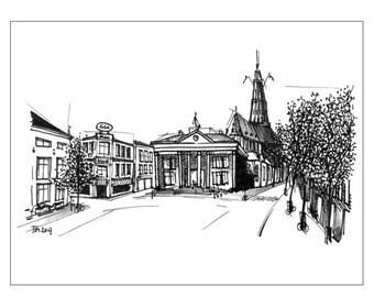 Illustration of Groningen: Korenbeurs and Vismarkt