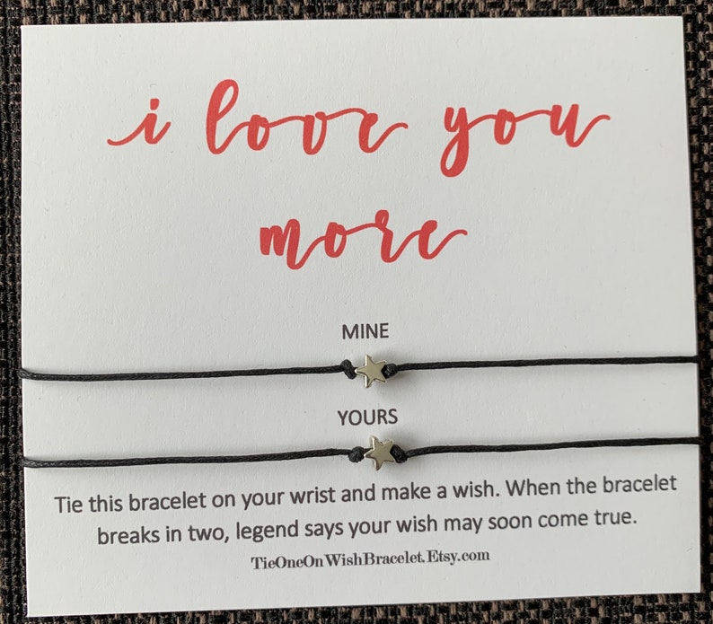 wish bracelet I love you more Mother/'s Day card Matching BF bracelet Gift for bae Couples gift Mother/'s Day gift Boyfriend gift